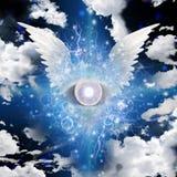Oeil à ailes illustration stock