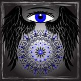 Oeil, ailes et mandala Photo libre de droits