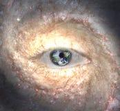 Oeil au milieu de la galaxie avec la terre illustration libre de droits