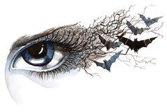 Oeil avec 'bat' illustration de vecteur