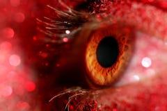 Oeil avec le scintillement rouge de scintillement images stock