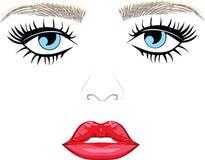 Oeil avec les lèvres sexy de longues mèches illustration de vecteur