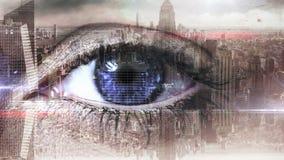 Oeil balayant une interface futuriste clips vidéos