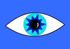 Oeil bleu dans le backround bleu Images libres de droits