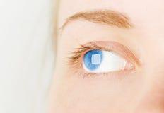 Oeil bleu du ` s de femme dans le studio Photos stock