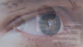 Oeil bleu entouré par une animation des codes et des données financières banque de vidéos