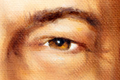 Oeil brun noisette d'homme en détail, peinture à l'huile Photographie stock