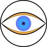 Oeil comme logo, en rond et coloré illustration de vecteur