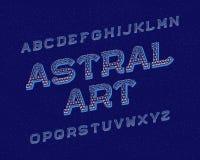 Oeil d'un caractère astral en art Rétro fonte Alphabet anglais d'isolement illustration stock