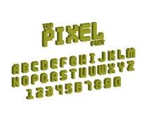 Oeil d'un caractère futuriste électronique en ABC de vecteur de style de rétros de police de pixel d'ordinateur du concepteur du  Photo libre de droits