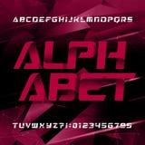 Oeil d'un caractère futuriste abstrait en alphabet Type oblique lettres et nombres illustration libre de droits