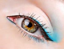 Oeil de beauté avec le fard à paupières bleu Photographie stock