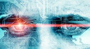 Oeil de données avec le rayon de laser Photo libre de droits