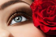 Oeil de femme avec le renivellement photographie stock