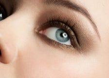 Oeil de femme avec le renivellement photo stock