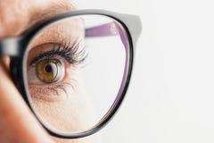 Oeil de femme d'affaires avec des verres en gros plan Photographie stock