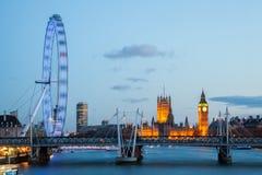 Oeil de Londres avec grand Ben Photographie stock libre de droits