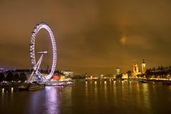 Oeil de millénium de Londres et grande nuit de Benat Image libre de droits