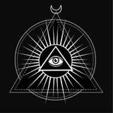 Oeil de Providence Tout l'oeil voyant à l'intérieur de pyramide de triangle image stock