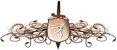 Oeil de Rha sur le fond floral avec l'épée et le bouclier d'isolement Photos stock