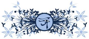 Oeil de Rha sur le fond floral d'isolement Photographie stock libre de droits