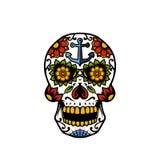 Oeil de Sugar Skull With Anchor et de fleur illustration stock