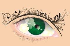 Oeil de vecteur avec le sourcil floral illustration stock