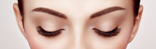 Oeil femelle avec de longs cils faux image stock