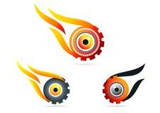Oeil, flamme, vitesse, logo, technologie, vision, roue, soin, symbole, icône, conception, ensemble Photos stock