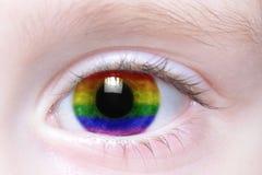 Oeil humain avec le drapeau d'homosexuel d'arc-en-ciel Photographie stock