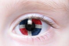 Oeil humain avec le drapeau national de la République Dominicaine  photos libres de droits