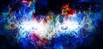 Oeil mystique et bel ornamental dans l'espace cosmique Aspiration de main et collage originaux d'ordinateur illustration stock