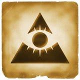 Oeil papier de pyramide de providence de vieux Photo libre de droits