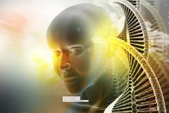 Oeil pensant à l'avenir contre des structures d'ADN Photos stock