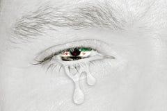 Oeil pleurant avec le drapeau de la Syrie Photo libre de droits