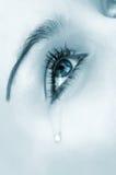Oeil pleurant. versi bleu de highkey image stock