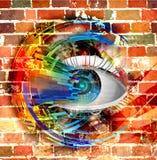 Oeil sur un fond coloré image libre de droits