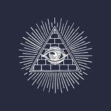 Oeil tout-voyant de pyramide de franc-maçonnerie Gravure du logo maçonnique Oeil de vecteur d'illustration de Providence Omniscie illustration de vecteur