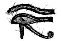Oeil tout-voyant de vecteur tiré par la main de Horus illustration de vecteur