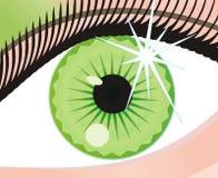 Oeil vert abstrait avec une correction de lumière Photographie stock