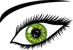 Oeil vert avec des jeux illustration de vecteur