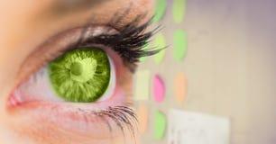 Oeil vert avec les notes collantes à l'arrière-plan Image libre de droits