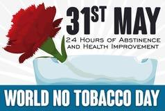 Oeillet et Crystal Ashtray rouges pour le monde aucun jour de tabac, illustration de vecteur illustration stock