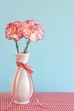 Oeillets rouges et blancs dans un vase image stock