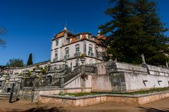 Oeiras - Lisbon, Portugal - March 10, 2019 - Perspective of the Marquis of Pombal Palace from the garden, sighting the staircases royalty free stock photo