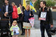 Oekraïeners in Cyprus tonen solidariteit Royalty-vrije Stock Fotografie