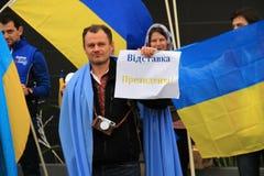 Oekraïeners in Cyprus tonen solidariteit Royalty-vrije Stock Afbeeldingen