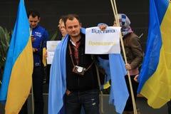 Oekraïeners in Cyprus tonen solidariteit Stock Afbeeldingen