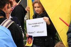 Oekraïeners in Cyprus tonen solidariteit Royalty-vrije Stock Foto