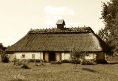 Oekraïens huis in sepia Stock Fotografie